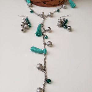Jewelry - Teal and silver necklace and earring set
